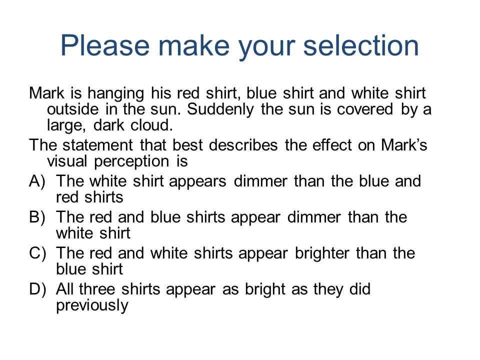 Please make your selection