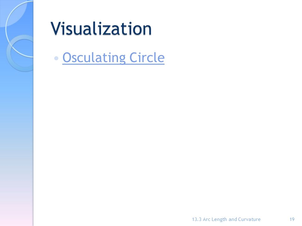 Visualization Osculating Circle 13.3 Arc Length and Curvature