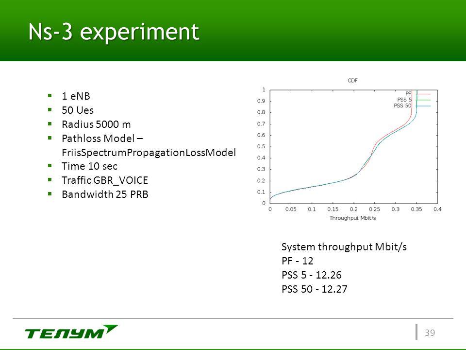 Ns-3 experiment 1 eNB 50 Ues Radius 5000 m