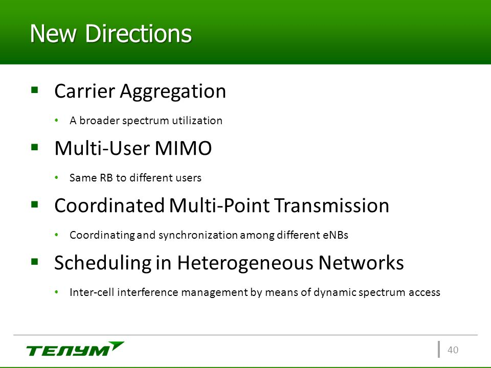 New Directions Carrier Aggregation Multi-User MIMO