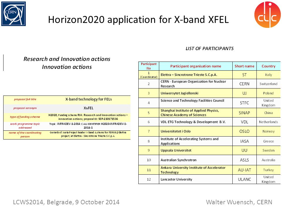 Horizon2020 application for X-band XFEL