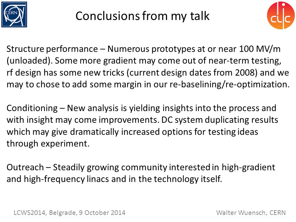 Conclusions from my talk