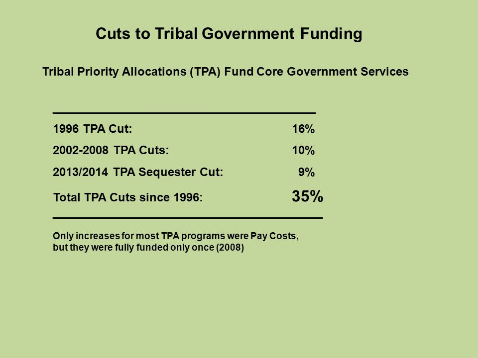 Cuts to Tribal Government Funding