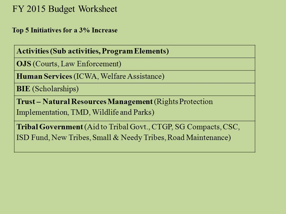 FY 2015 Budget Worksheet Activities (Sub activities, Program Elements)