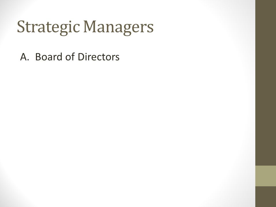 Strategic Managers A. Board of Directors
