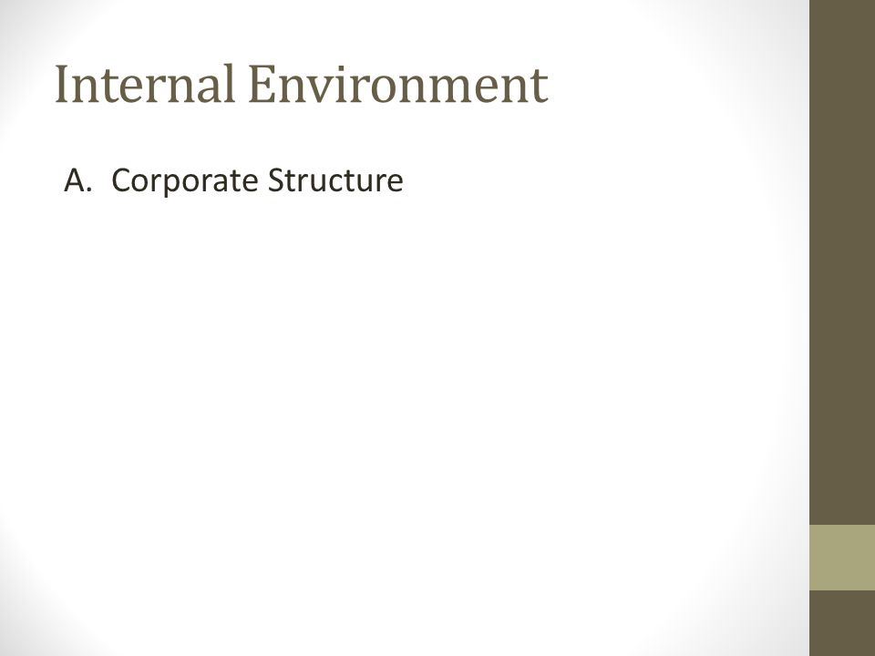 Internal Environment A. Corporate Structure