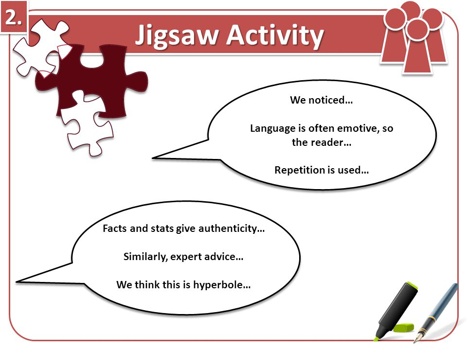 2. Jigsaw Activity We noticed…