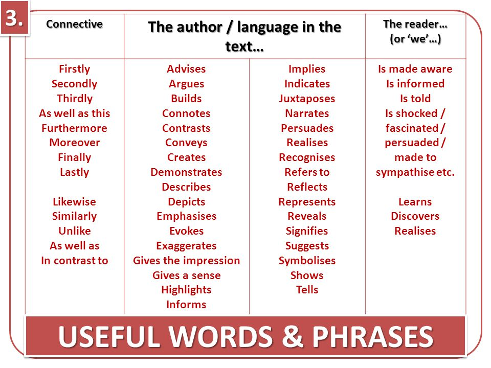 USEFUL WORDS & PHRASES 3. The author / language in the text…