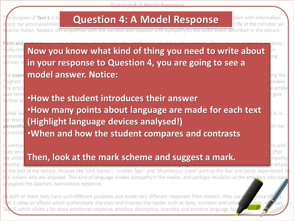 Question 4: A Model Response Question 4: A Model Response