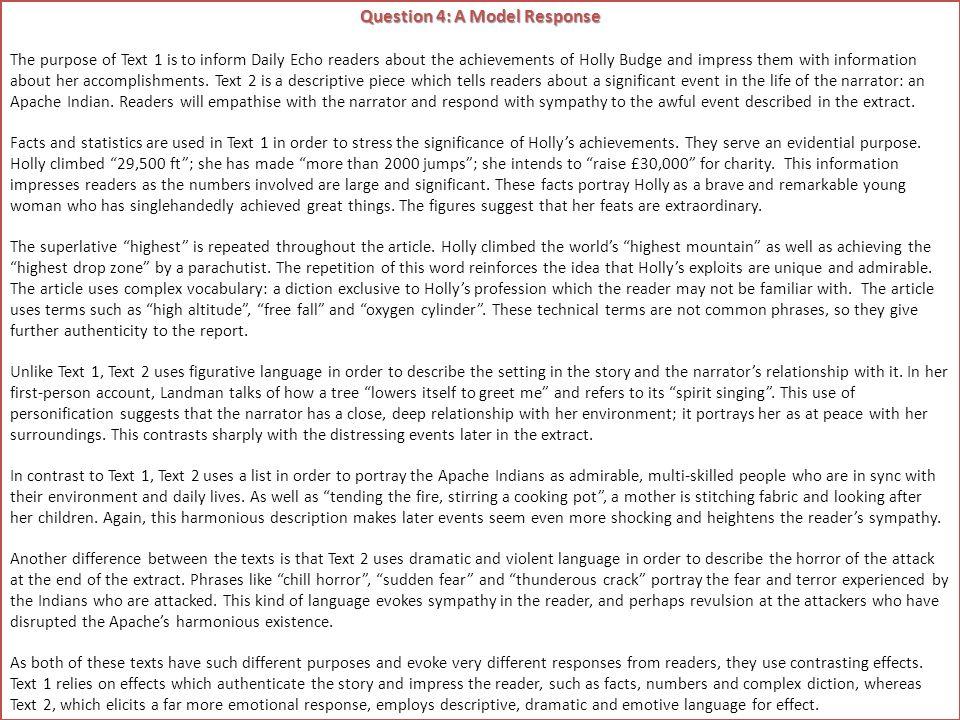 Question 4: A Model Response