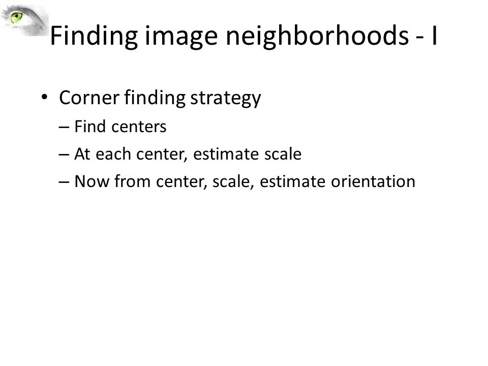 Finding image neighborhoods - I
