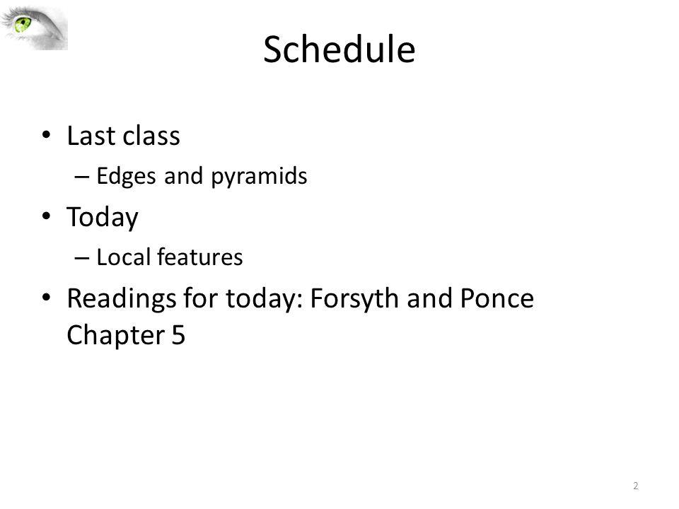 Schedule Last class Today