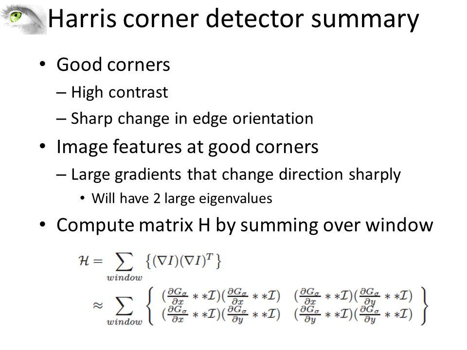 Harris corner detector summary