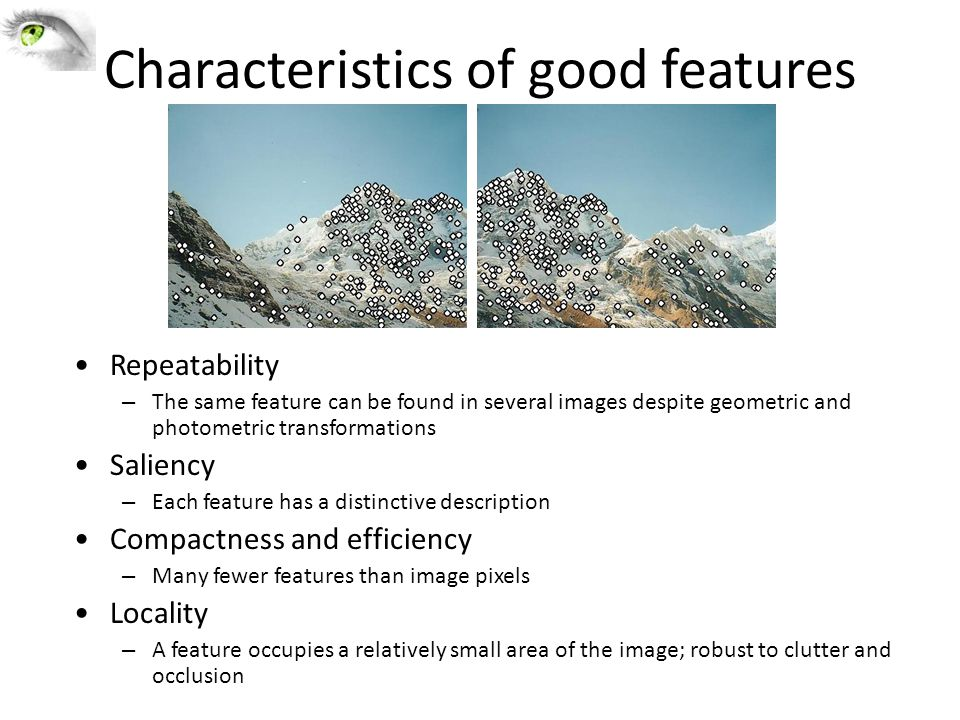 Characteristics of good features