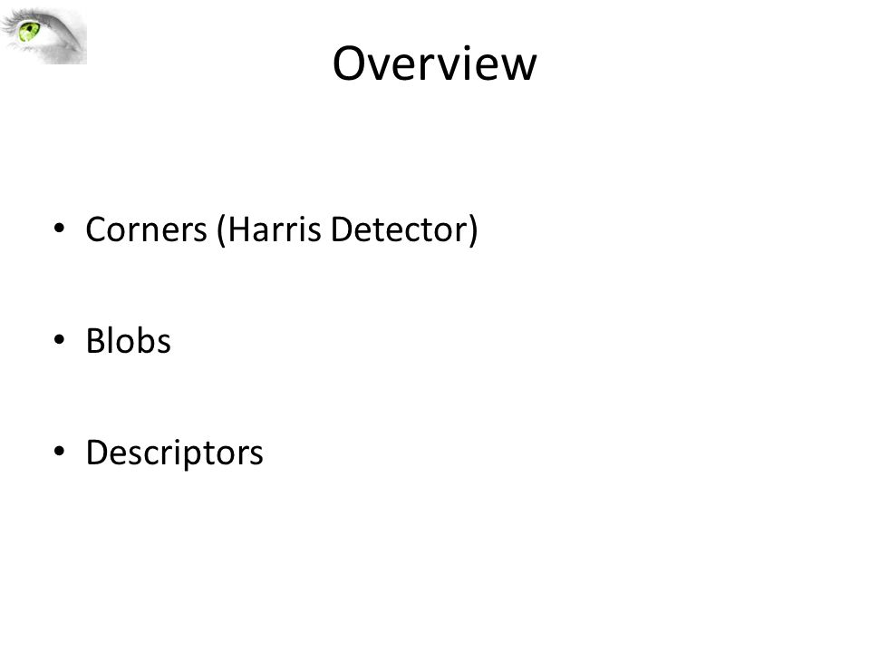 Overview Corners (Harris Detector) Blobs Descriptors