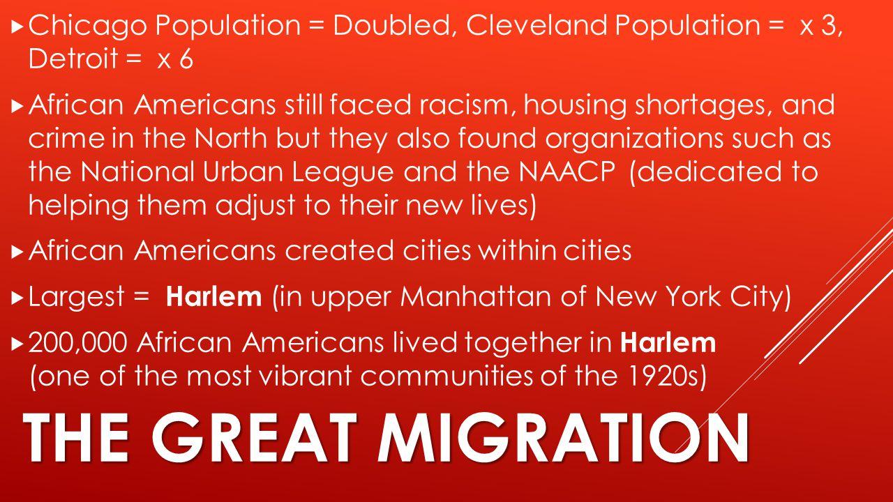 Chicago Population = Doubled, Cleveland Population = x 3, Detroit = x 6