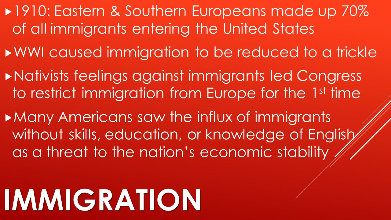 1910: Eastern & Southern Europeans made up 70% of all immigrants entering the United States