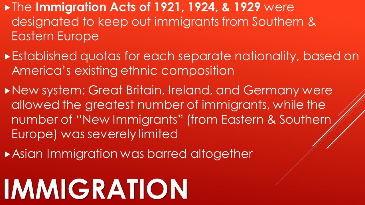 The Immigration Acts of 1921, 1924, & 1929 were designated to keep out immigrants from Southern & Eastern Europe