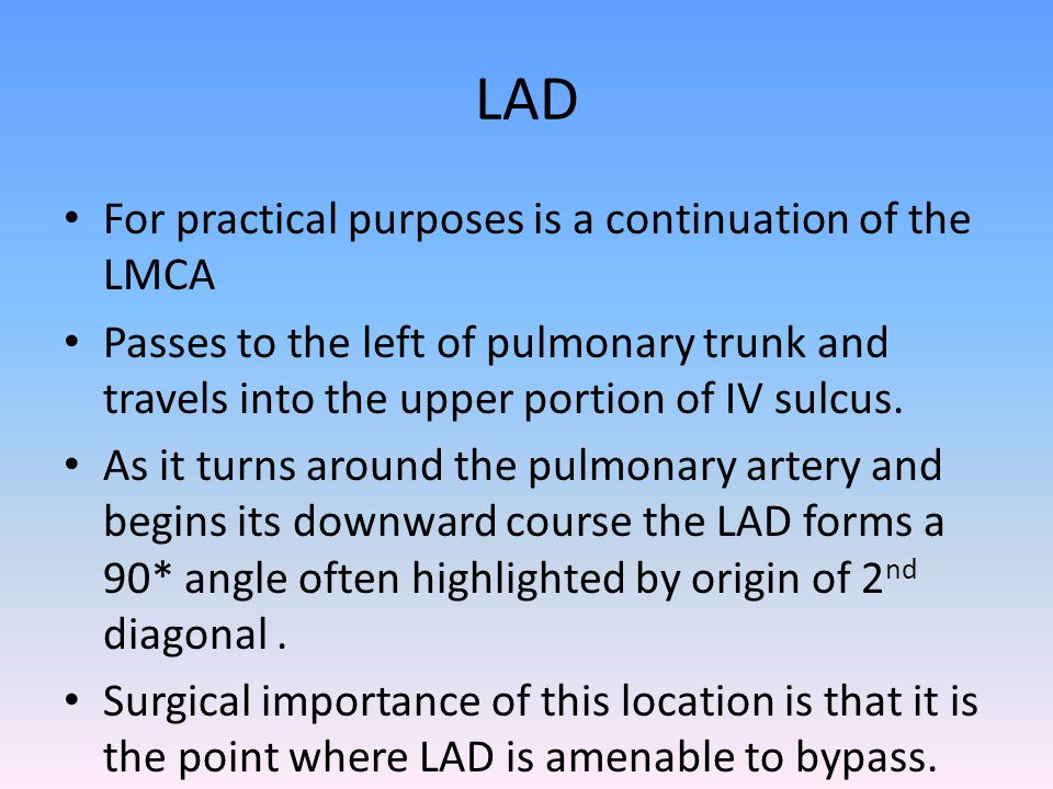 LAD For practical purposes is a continuation of the LMCA