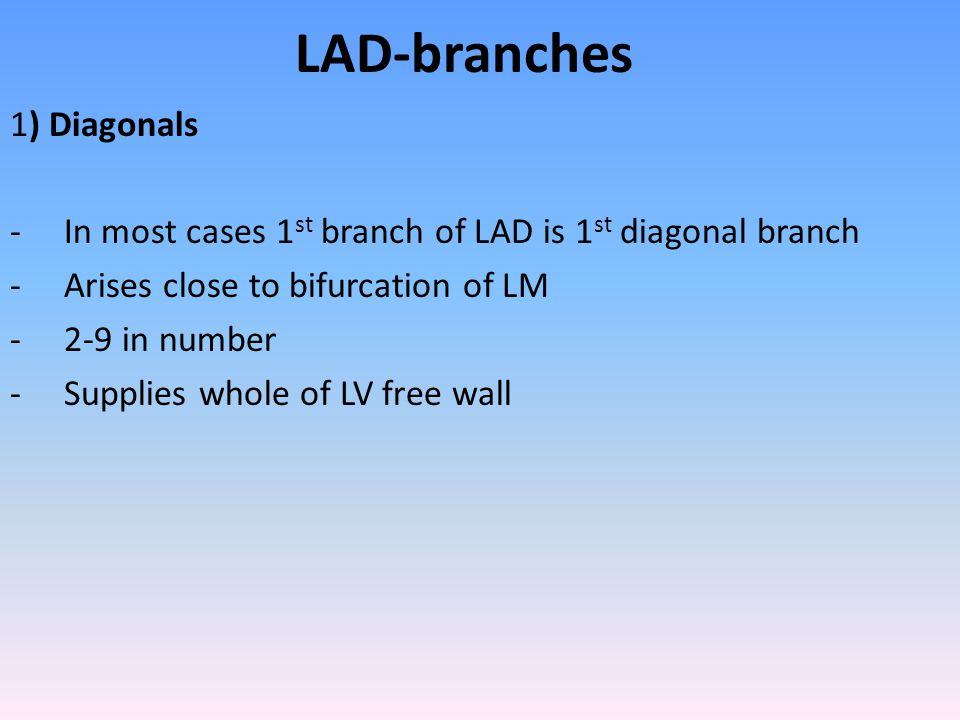 LAD-branches 1) Diagonals