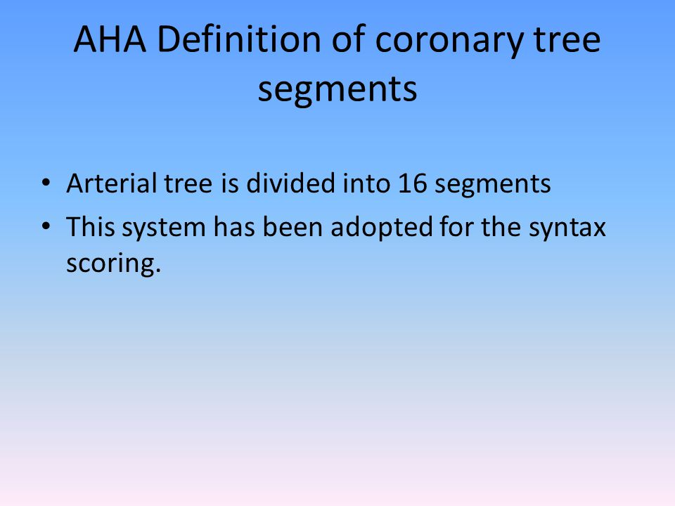 AHA Definition of coronary tree segments