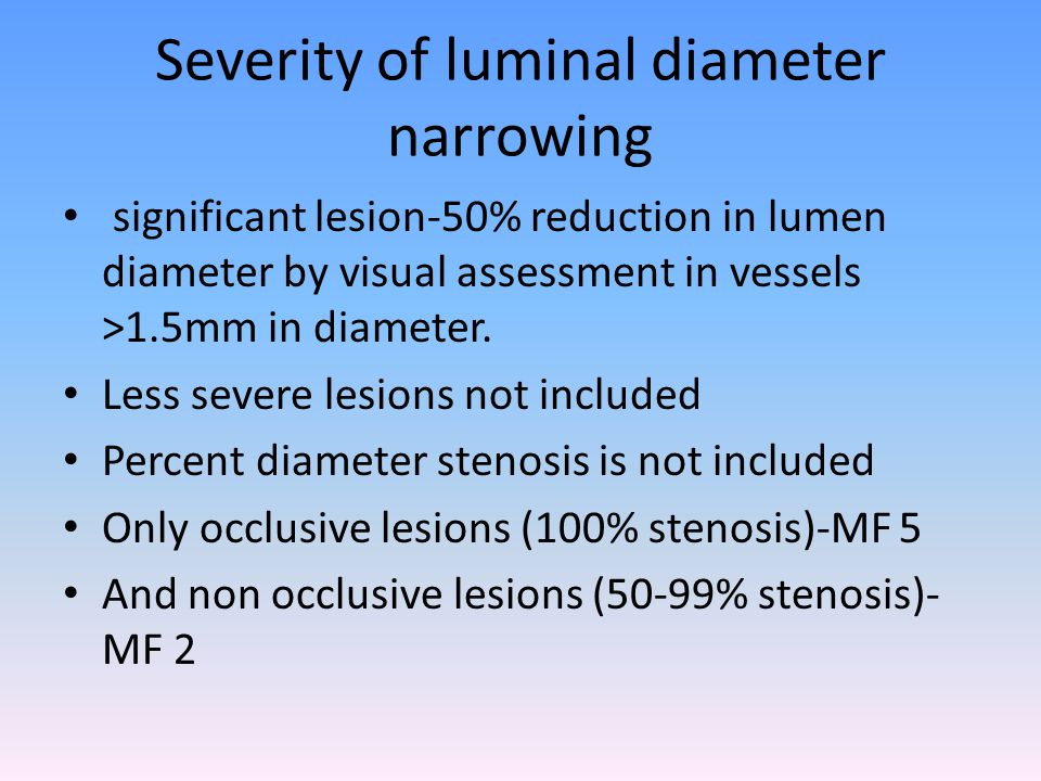 Severity of luminal diameter narrowing