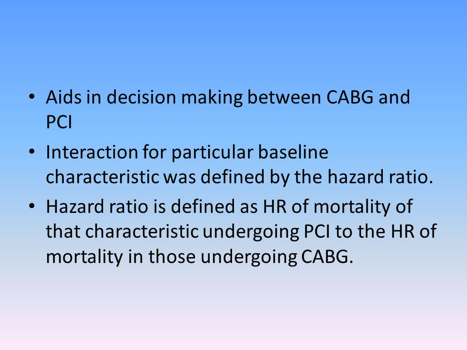 Aids in decision making between CABG and PCI