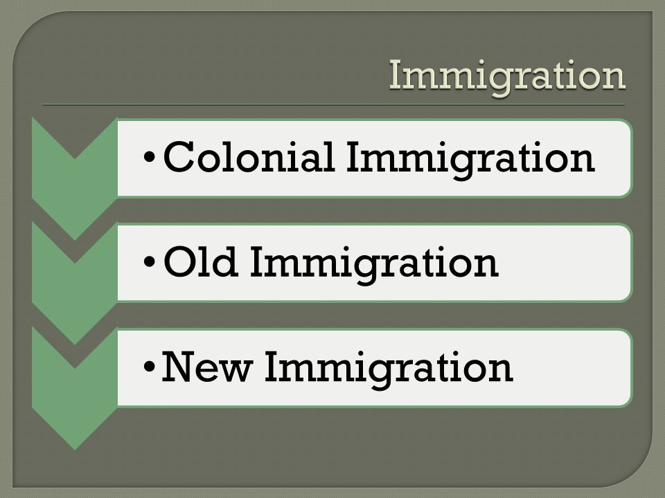 Immigration Colonial Immigration Old Immigration New Immigration