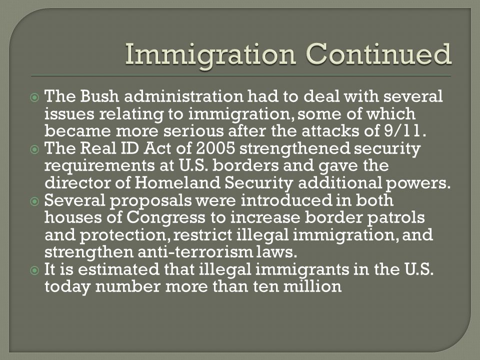 Immigration Continued