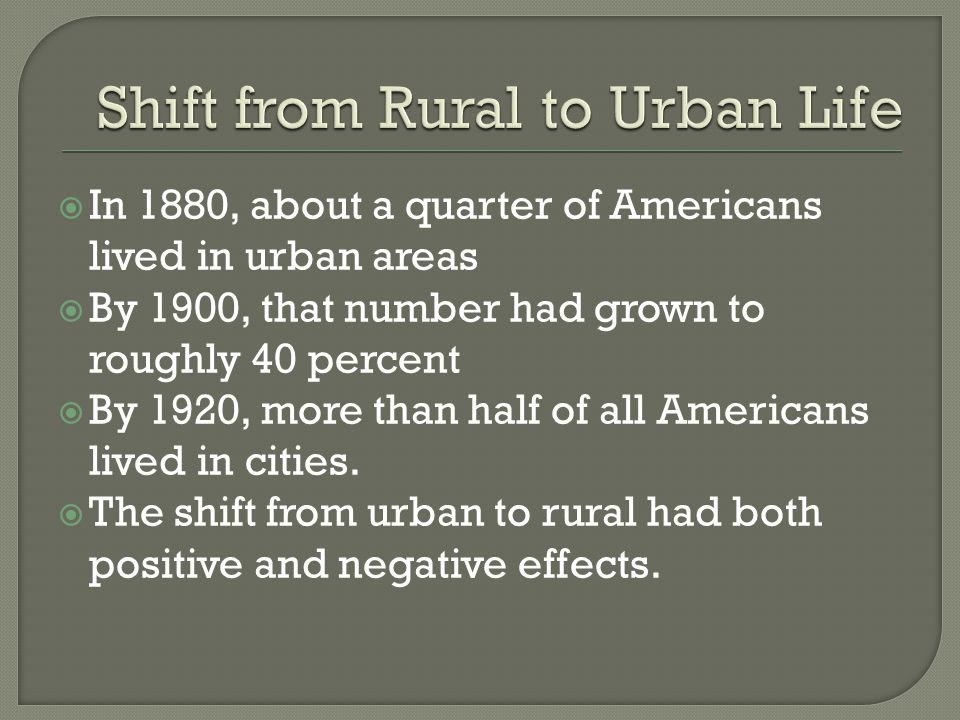 Shift from Rural to Urban Life