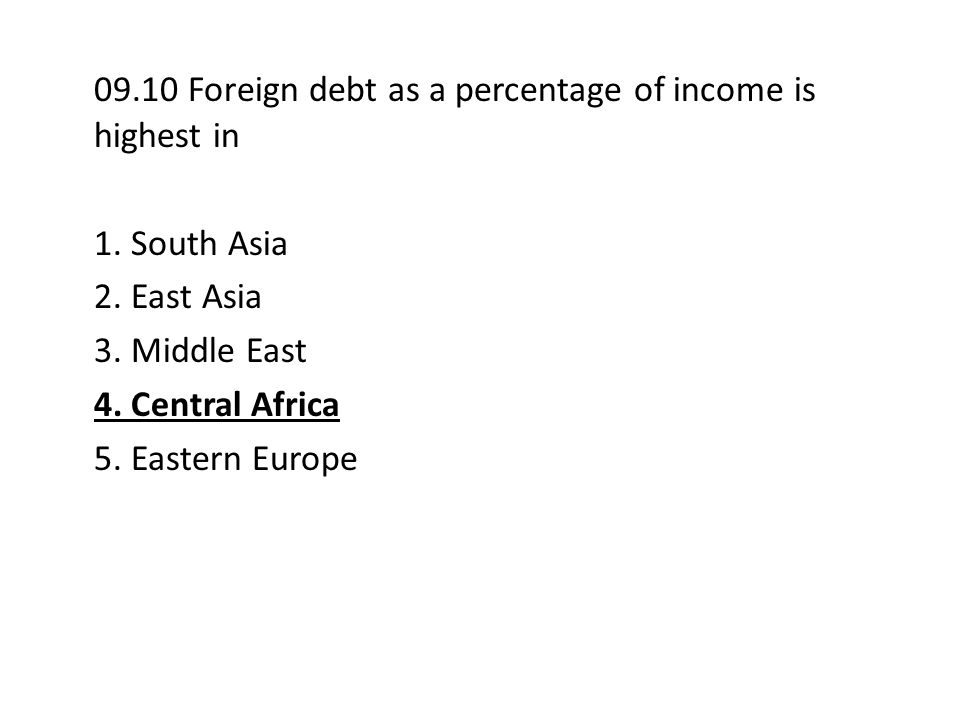 09.10 Foreign debt as a percentage of income is highest in