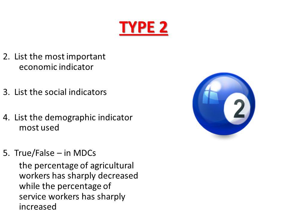 TYPE 2 2. List the most important economic indicator