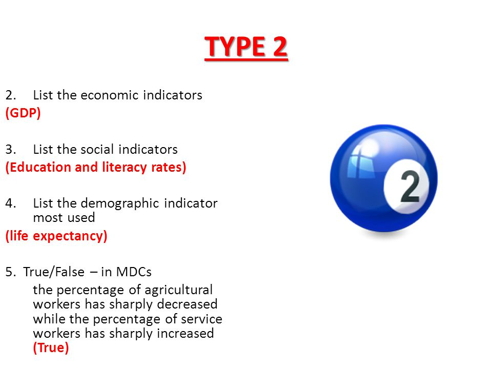 TYPE 2 List the economic indicators (GDP) List the social indicators