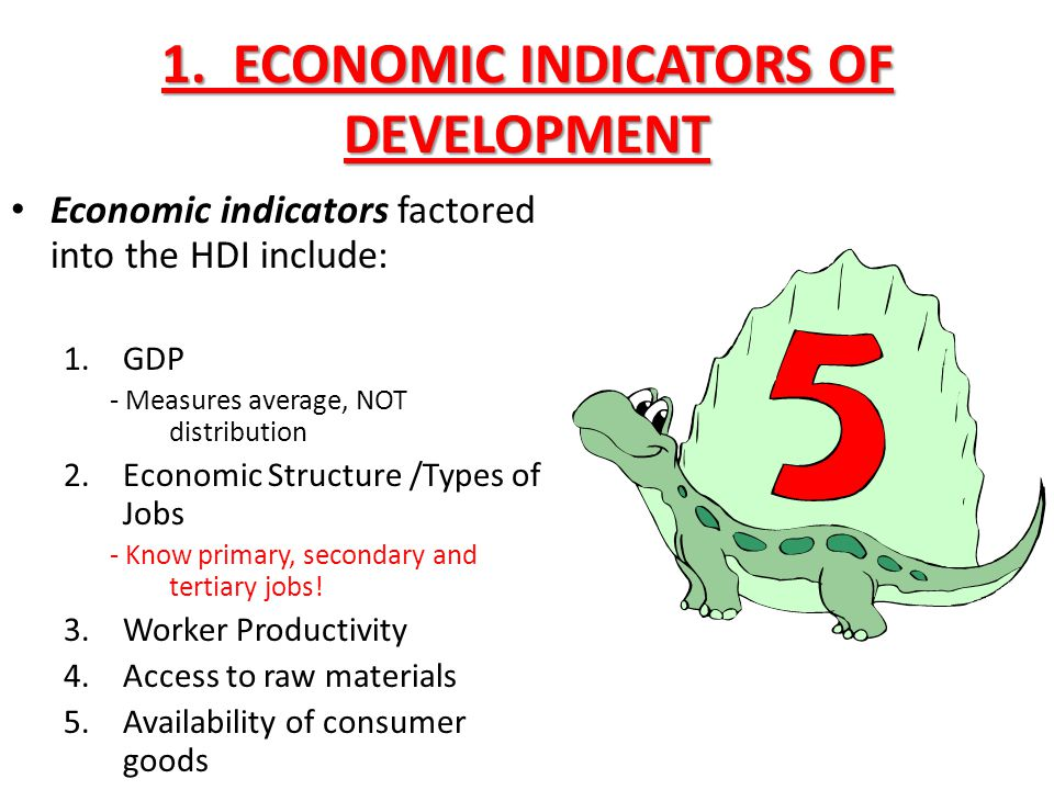 1. ECONOMIC INDICATORS OF DEVELOPMENT