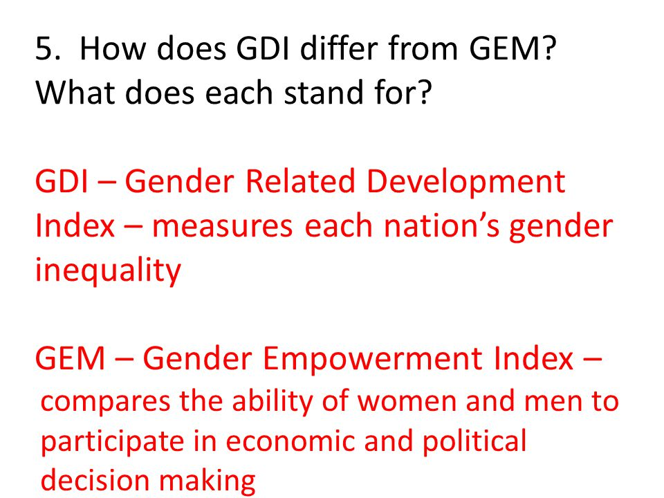 5. How does GDI differ from GEM. What does each stand for