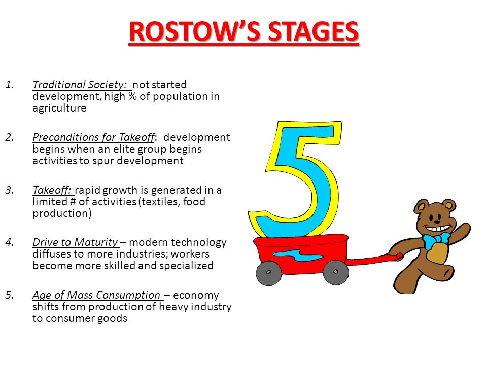 ROSTOW'S STAGES Traditional Society: not started development, high % of population in agriculture.