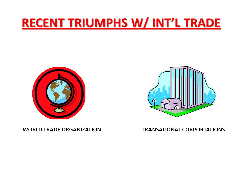 RECENT TRIUMPHS W/ INT'L TRADE