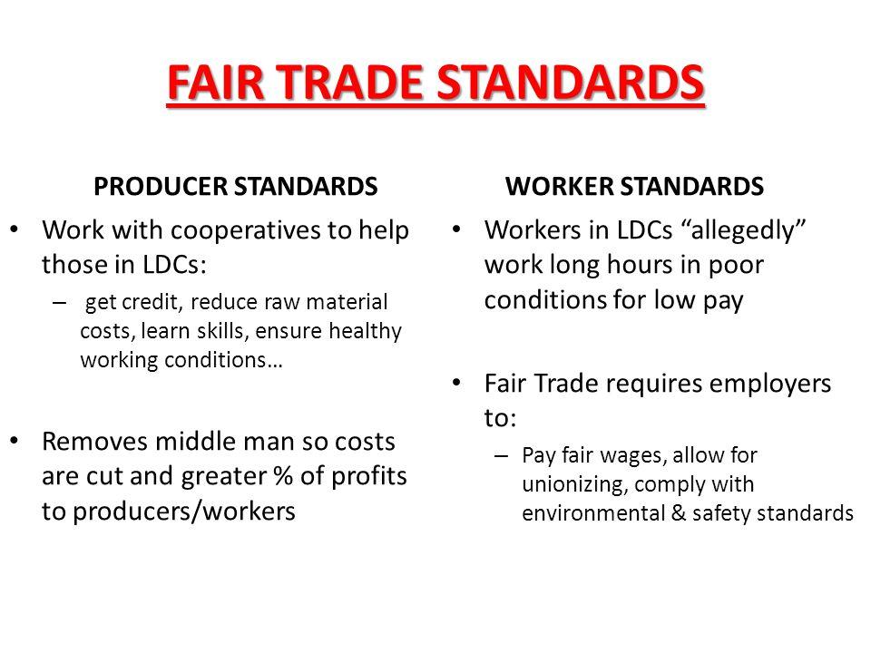 FAIR TRADE STANDARDS PRODUCER STANDARDS WORKER STANDARDS