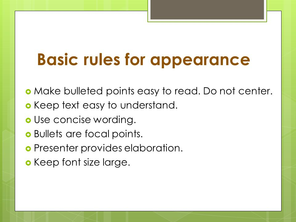 Basic rules for appearance