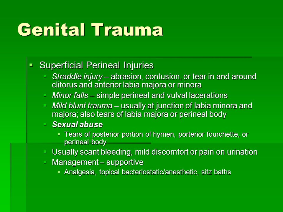 Genital Trauma Superficial Perineal Injuries