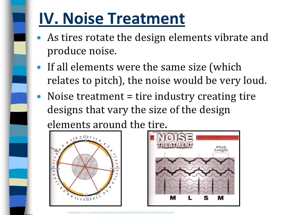 IV. Noise Treatment As tires rotate the design elements vibrate and produce noise.