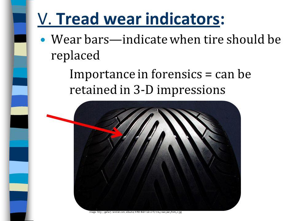 V. Tread wear indicators: