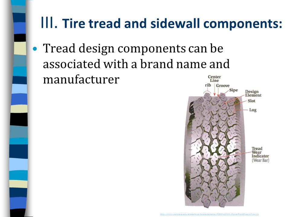 III. Tire tread and sidewall components: