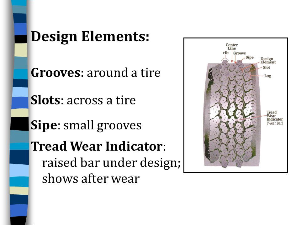 Design Elements: Grooves: around a tire Slots: across a tire