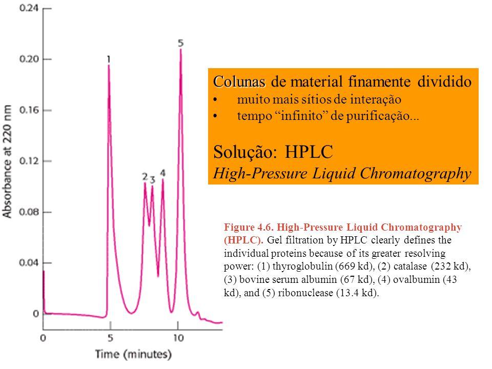 Solução: HPLC Colunas de material finamente dividido