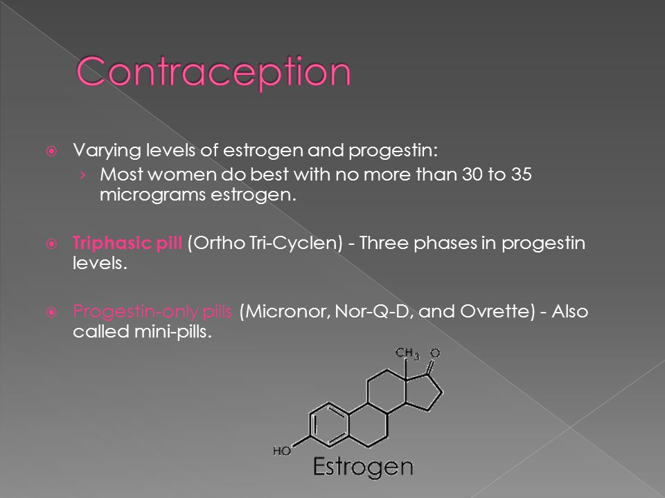 Contraception Varying levels of estrogen and progestin: