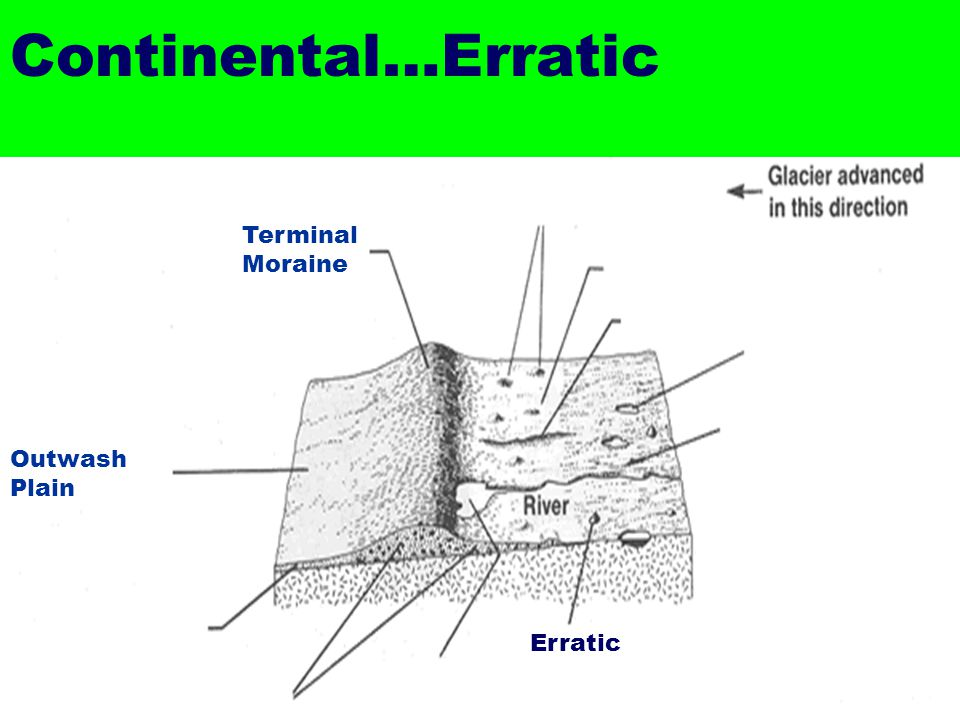 Continental…Erratic Terminal Moraine Outwash Plain Erratic