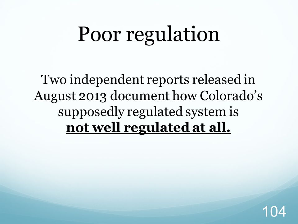 Poor regulation