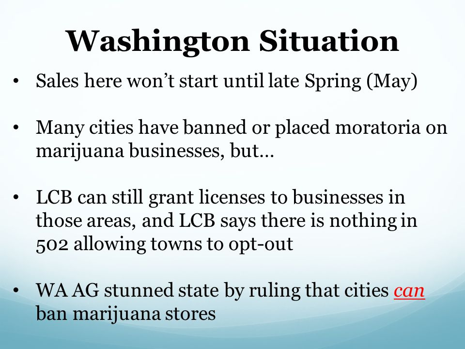 Washington Situation Sales here won't start until late Spring (May)