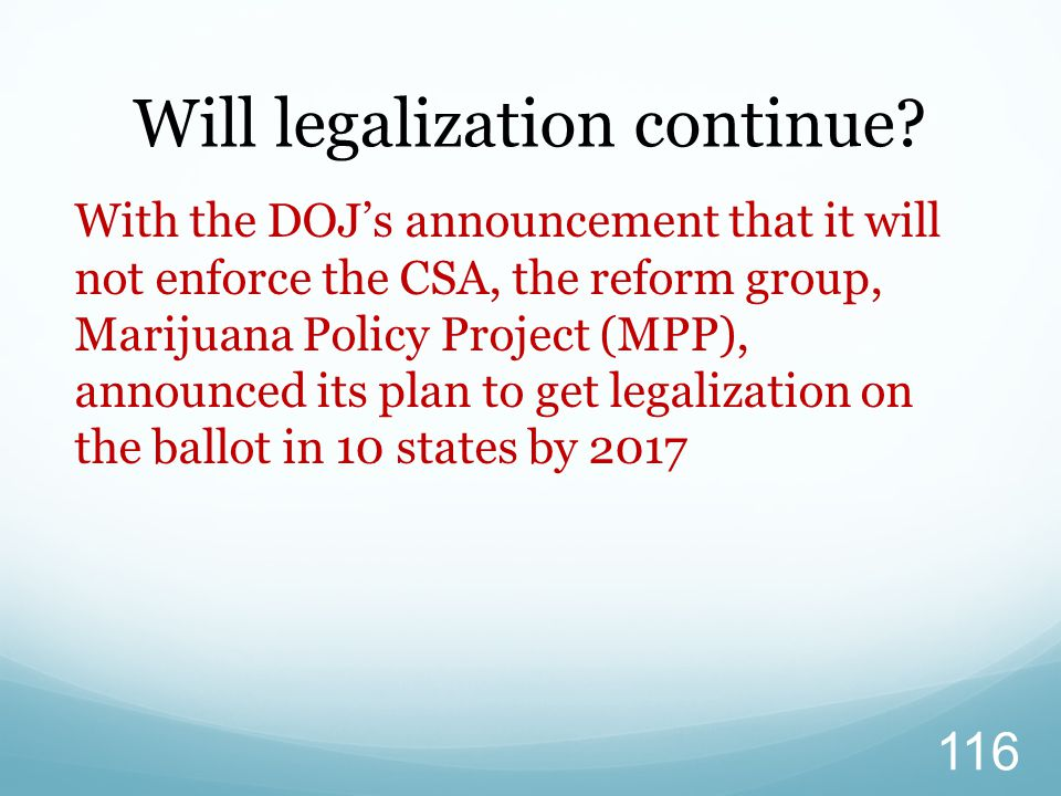 Will legalization continue